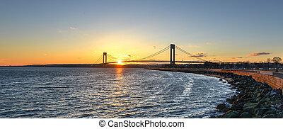 puente, estrecho, ocaso, verrazano