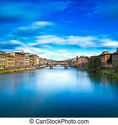 puente, exposure., viejo, trinita, reflexión., florencia, italy., toscana, largo, río, ocaso, santa, señal, arno, o, paisaje, firenze