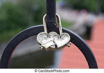 puente, forma, dos corazones, castillo, fijo