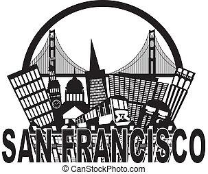 puente, francisco, san, dorado, ilustración, contorno, negro, puerta, blanco