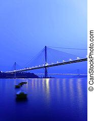 puente, hong, noche, kong