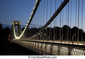 puente, iluminado, clifton, inglaterra, brunel, reino unido, bristol, suspensión, noche