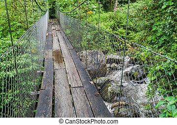 puente, lluvioso, baru, estación, excursionismo, sendero, los, parque nacional, panam, rastro, quetzales, suspensión, durante, volcan