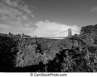 puente, negro, blanco, bristol, suspensión, clifton