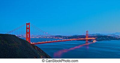 puente, ocaso, puerta, dorado