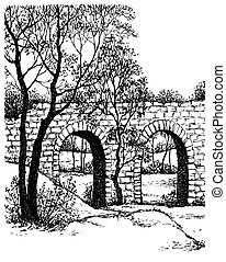 puente, paisaje., viejo, piedra, parque, vector