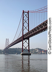 puente, portugal, 25, tejo, encima, de, -, abril, lisboa, suspensión, río