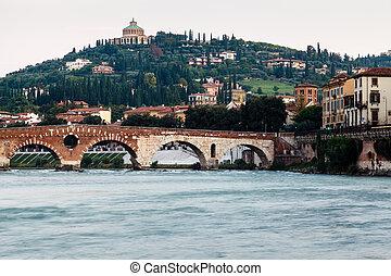 puente, río, italia, verona, veneto, santo, adige, peter, vista