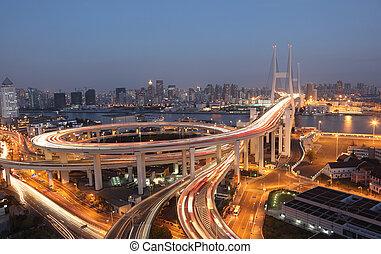 puente, shanghai, china, night., nanpu