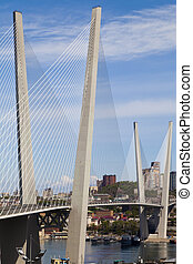 puente, suspensión, grande