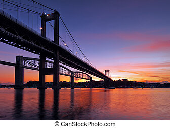 puente, tamar, silueta
