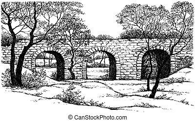 puente, vector, viejo, piedra, paisaje., parque