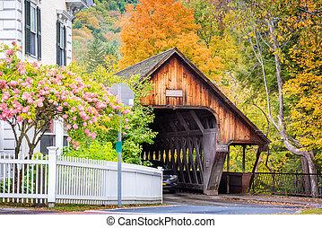 puente, woodstock, cubierto, medio, vermont