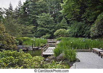 Puente Zig Zag en el jardín japonés