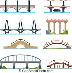 puentes, arquitectónico, urbano, rayo, puente, o, flat., vector, columna, cuadros, acueducto, objetos