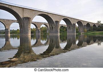 Puentes de piedra cruzando el río Ardache