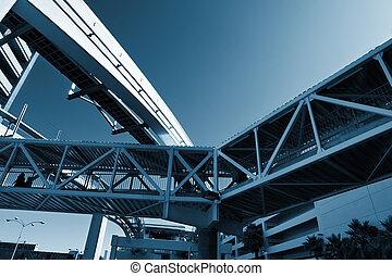 puentes, edificios, hecho, infrastructure., urbano, nudo, entre, monorail.