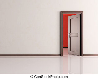 puerta abierta, habitación, vacío