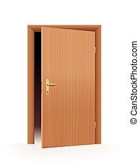 puerta abierta, mitad