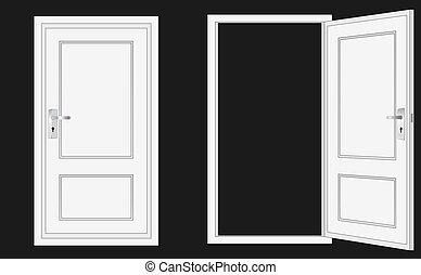puerta, abierto, cerrado