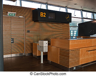puerta, aeropuerto, mostrador, recepción, vuelos