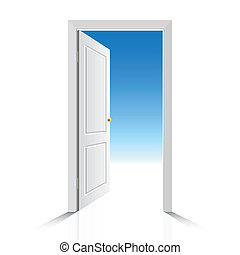 Puerta blanca abierta