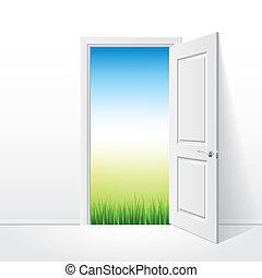 Puerta blanca abierta y ilustración de vectores naturales