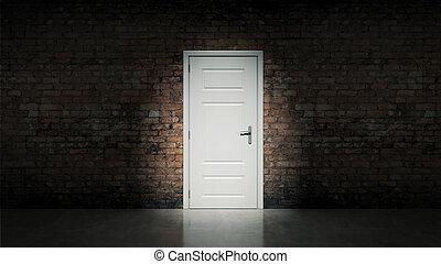 Puerta blanca con pared de ladrillo