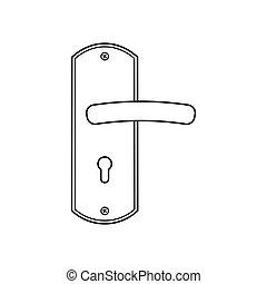 puerta, blanco, vector, manija, ilustración, fondo., aislado, icono