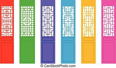 Puerta china rectangular con patrón, vector