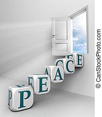 puerta, conceptual, rojo, paz, palabra