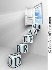 puerta, conceptual, sueño