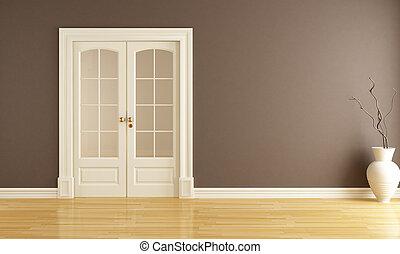 puerta, corredizo, vacío, interior