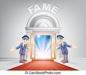 Puerta de alfombra roja a la fama