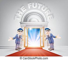 Puerta de alfombra roja a tu futuro