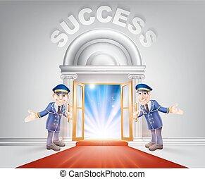 Puerta de alfombra roja al éxito