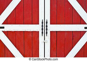 Puerta de granja roja.
