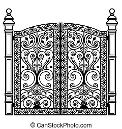 Puerta de hierro forjada