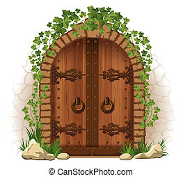 puerta de madera, hiedra