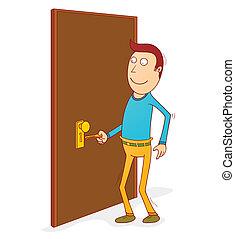 puerta, destrancar
