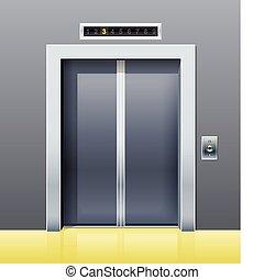 puerta, elevador, cerrado