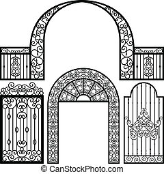 puerta, entrada, puerta, cerca, vendimia