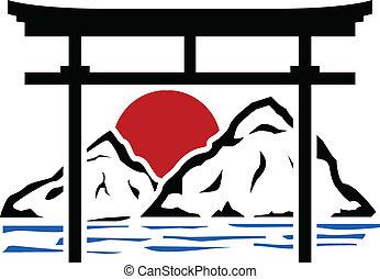 puerta, plantilla, torii, sunrise.