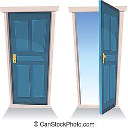 puertas, abierto, cerrado
