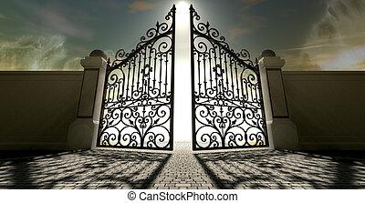 puertas, cielos, abierto, florido