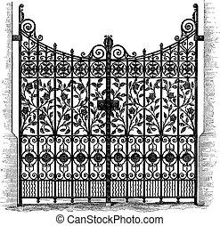 Puertas de hierro forjadas grabados