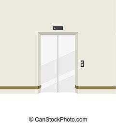 puertas, elevator., cerrado