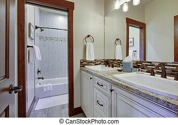 puertas, sinks., floor., nuevo, color, de madera, countertops, gris, beige, baños, rico, lujo, paredes, natural, brillante, gabinetes, blanco, limpio