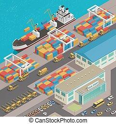 puerto, barcaza, muelle, carga, isométrico