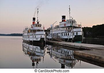 puerto, barcos, viejo, dos